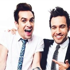 Brendon Urie and Pete Wentz Music ❤ liked on Polyvore featuring fall out boy, fob and panic at the disco