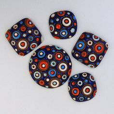 Cool Bubbles - Blue, Red and White by golemstudio on Etsy
