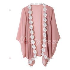 e05ad3efc7 Stylish 3 4 Sleeve Laciness Chiffon Kimono Women s Cardigan ( 17) ❤ liked on
