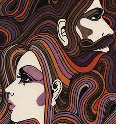 Hair' Wallpaper Mural from the Land of Lost Content collection. Retro Kunst, Retro Art, Vintage Art, Art And Illustration, Retro Illustrations, Kunst Inspo, Art Inspo, 1970s Art, Kunst Poster
