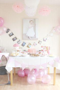 1st Birthday Decor balloons on the floor