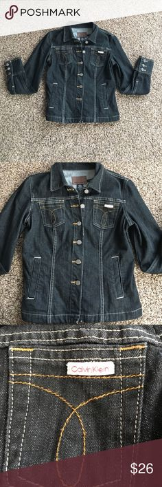 CALVIN KLEIN JEAN JACKET Calvin Klein Jean jacket. Women's size medium. Black with brown and white stitching. See pics.  Excellent condition! Super cute! Calvin Klein Jackets & Coats Jean Jackets