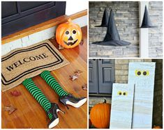 Make your house the spookiest place on the block with all these awesome DIY Halloween decor ideas! 1.DIY Floating Witch's Hat Luminaries 2.DIY Front Porch Mummies Decor 3. Candy Corn Candle Holders 4. Glass Spray Pumpkin Decor 5.DIY Paranormal Portraits 6.DIY Spooky Handsoap 7.DIY Lawn Ghosts Decor 8.DIY Skull Candle Holder 9.DIY Mummy Front Door 10.Witch Welcome Mat Decor 11.Skeleton in a Wheelbarrow Decoration Comments comments