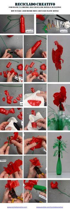 Cömo realizar una flor de plástico con una botella pet reciclada – How to make a plastic flower with a recycled pet bottle