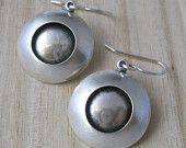domed modern earrings, sterling silver .925, hand forged, bulls eye, saturn earrings, made to order