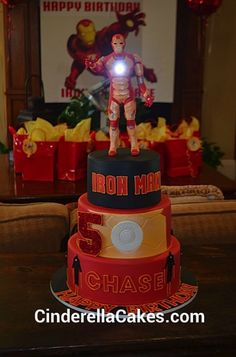 Iron Man birthday party, shall I aty empt to make this cake? Eeek!