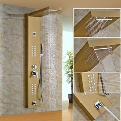 Senlesen Shower Column Panel Thermostatic Valve Rain Waterfall Shower Head Massgae Shower System Para Bathroom Shower Douche Shower Faucets