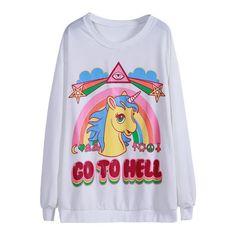 White Long Sleeve Unicorn Rainbow Print Sweatshirt (70 RON) ❤ liked on Polyvore featuring tops, hoodies, sweatshirts, sweaters, shirts, white sweatshirt, long sleeve tops, white shirt, shirt top and unicorn print shirt