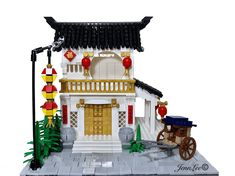 Oriental abode built to embrace luck, joy, and beauty Cool Minecraft Houses, Lego Minecraft, Lego Moc, Lego Lego, Lego Batman, Minecraft Skins, Minecraft Buildings, Lego Christmas Village, Lego Furniture