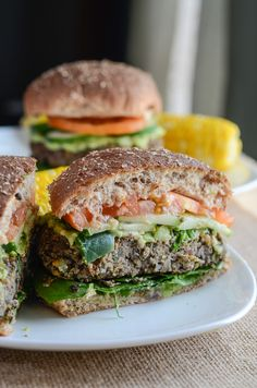 Mushroom Spinach Chickpea Burger |  A healthy take on the classic burger, made with organic ingredients , this burger is sure to please even the staunchest carnivore!