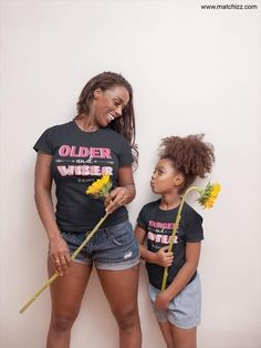 Aunt and Niece Matching Shirts Older and Wiser Younger and Cuter Aunt And Niece Shirts, Nephew And Aunt, Boy Best Friend Gifts, Aunt Baby Clothes, Single Rib, Mommy And Me Outfits, Matching Shirts, Baby Bodysuit, Fitness Fashion