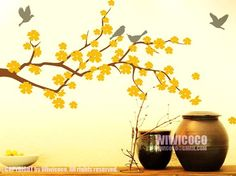 wall art yellow and grey