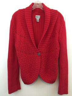 Chico's 1 Womens Sweater S M Red Chunky Thick Ribbed Cotton One Button Cardigan #Chicos #Cardigan