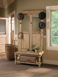 Vintage Pine Hall Tree - Contains: Three hat hooks, two leash hooks, beveled mirrors, slat bottom shelf