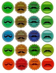 """Etiquettes à gogo: Étiquettes """"Les Moustachus"""""""