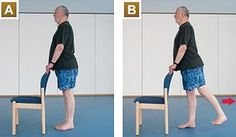If you're not very active, you may want to get the all-clear from a GP before starting A. Rest your hands on the back of a chair for stability.  B. Standing upright, raise your left leg backwards, keeping it straight. Avoid arching your back as you take your leg back. You should feel the effort in the back of your thigh and bottom.   C. Repeat with the other leg.   Hold the lift for up to five seconds and repeat five times with each leg.