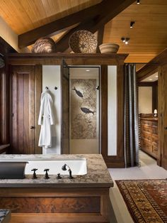 Wonderful Residence Architecture With Natural Materials : Cozy Contemporary Bathroom Design With Zen Decor Rocky Mountain Retreat