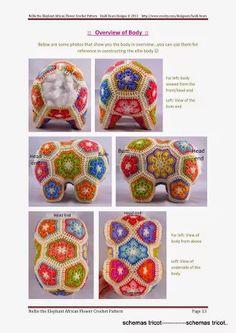 Album Archive - the_elephant Crochet Hippo, Crochet Rabbit, Crochet Elephant, Crochet Wool, Elephant Pattern, Crochet Chart, Crochet Motif, Crochet Flowers, Picture Frames