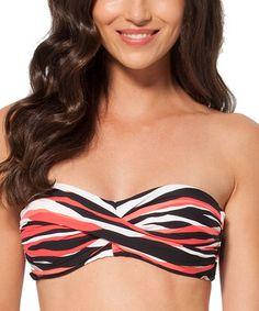 Look at this #zulilyfind! Coral & Black Twist Bandeau Bikini Top #zulilyfinds