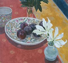 Plums with Indian Cloth, Cressida Campbell (Australian) woodblock with watercolor