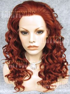 Gorgeous Long Red Female Wavy Lace Front Hair Wig 20 Inch