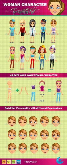 Woman Character Creation Kit — Photoshop PSD #character #chef • Available here → https://graphicriver.net/item/woman-character-creation-kit/4748455?ref=pxcr