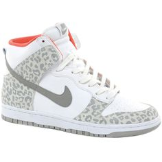 Nike Dunk Gray Leopard High Top Sneakers ($114) ❤ liked on Polyvore
