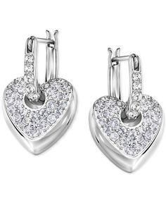 Swarovski Dangle Heart Hoop Earrings