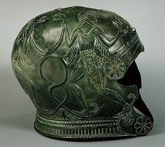Bronze helmet, Period: Archaic, Date: late 7th century B.C.  Culture: Greek, Cretan Medium: Bronze
