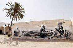 Er-Riadh, a small village off of the beaten tourist path on the island of Djerba in Tunisia. djerbahood-mural-art-project-erriadh-tunisia-2