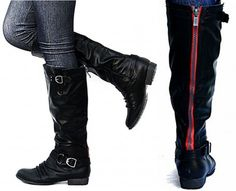 New Womens EM02 Black Riding Boots with Red Zipper. Size 8!