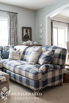 Arhaus Outerbanks Sectional - Miss Mustard Seed Our new sofa in the living room: the Outerbanks Sectional from Arhaus. I chose a bold blue & white buffalo check fabric . Plaid Living Room, Blue And White Living Room, Living Room Sofa, Home Living Room, Living Room Furniture, Living Room Decor, Country Furniture, Paint Furniture, Blue Living Rooms