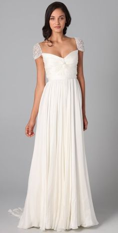 """""""From the beautiful beaded cap sleeve detailing to the intricate pleated…"""