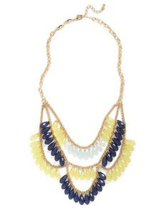 blue & yellow statement necklace