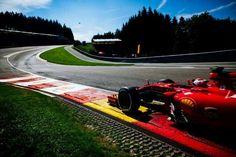 Belgian Grand Prix 2015 - Saturday - Kimi Raikkonen at Eau Rouge Belgian Grand Prix, Spa, Ferrari F1, Indy Cars, Car And Driver, Formula One, Le Mans, Race Cars, Pilot
