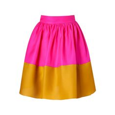 Hot Pink & Mustard Silk Organza Full Skirt