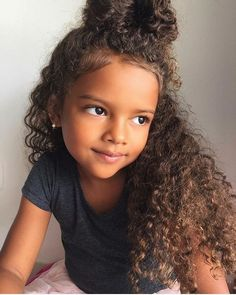 46 Best Of Cute Curly Hairstyles for Long Hair Photo Short hair styles for girls with curly hair - Hair Style Girl Mixed Curly Hair, Curly Hair Types, Curly Hair With Bangs, Long Curly Hair, Curly Bun, Wavy Hair, Little Mixed Girl Hairstyles, Cute Curly Hairstyles, Brown Hairstyles