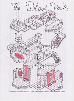 The Blood Vaults, Isometric Dungeon. Dungeons And Dragons Homebrew, D&d Dungeons And Dragons, Fantasy Map Making, Environment Map, Dnd World Map, Isometric Map, Nerd Crafts, Plakat Design, Dungeon Maps