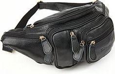 Cheap Polare Men's Natural Leather Fanny Pack Waist Bag Black Large sale