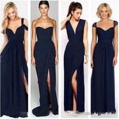 2016 Long Dark Navy Blue Bridesmaid Dresses V Neck Chiffon Floor Length Wedding Guest Wear Party Dress Plus Size Maid of Honor Gowns Long Bridesmaids Dresses Navy Blue Bridesmaid Dresses 2017 Bridesmaids Dresses Online with 100.58/Piece on Haiyan4419's Store | DHgate.com