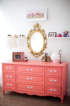 Mollies room- coral dresser and rose gold framed mirror Girls Bedroom, Bedroom Decor, Girl Nursery, Bedrooms, Coral Room Decor, Bedroom Ideas, Coral Bedroom, Decor Room, Trendy Bedroom