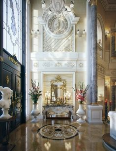 Luxury Villa in Qatar [Visualized] The Villa's breathtaking entry is opulent beyond words with its soaring ceilings, decorative wall friezes, marble columns and gold accented finishes. Classic Interior, Luxury Interior Design, Interior Architecture, Interior And Exterior, Interior Decorating, Decorating Ideas, Interior Shop, Interior Plants, Farmhouse Interior