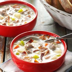 Beefy Bacon Chowder Recipe -Rave reviews are sure to follow when this creamy chowder appears on the table. Bacon makes it rich and hearty. It's a favorite with my whole family. - Nancy Schmidt, Center, Colorado.