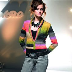 Ava Shawl Neck Cardigan in Noro Silk Garden Lite