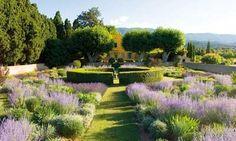 Lavender garden at Pavillon de Galon - Cucuron, Provence Formal Gardens, Outdoor Gardens, Courtyard Gardens, French Formal Garden, French Garden Ideas, French Courtyard, Lavender Garden, Lavender Fields, Design Jardin