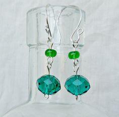 Faceted teal earrings