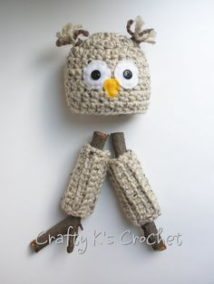 Newborn Baby Boy or Girl Wide Eyed Owl Hat and by CraftyKsCrochet