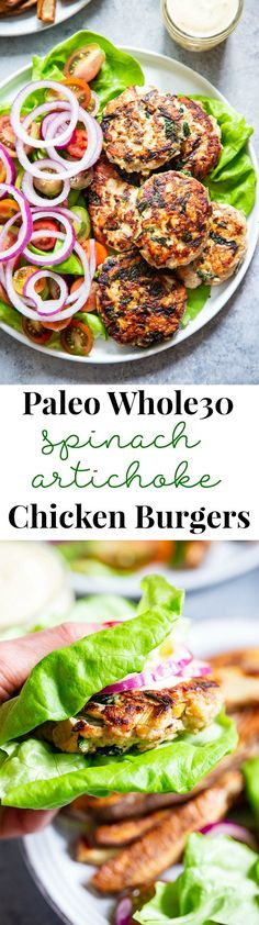 Spinach Artichoke Chicken Burgers {Paleo, Keto} These chicken burgers are packed with veggies and tons of flavor! A savory spinach artichoke mixture is added to the burgers before grilled and topped with more goodies! paleo, and keto friendly. Whole30 Dinner Recipes, Paleo Dinner, Paleo Recipes, Real Food Recipes, Chicken Recipes, Cooking Recipes, Chicken Dips, Walnut Recipes, Burger Recipes