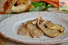 Scaloppine cremose ai funghi porcini, preparate con carne Terraviva Coalvi, funghi porcini, crema di latte. Ricetta semplice e gustosa. Secondi di carne.