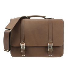 Classic Leather Messenger Bag Light Brown
